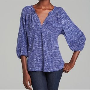Joie Silk Blouse Blue Print Loose V Neck XS